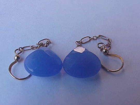 Other 14kt Solid Yellow Gold Natural Blue Chalcedony Drop Dangle Earrings, 1950s