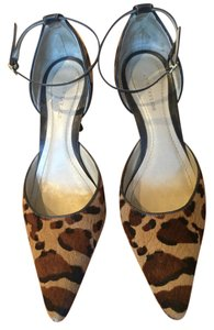 Ann Taylor Leather Kitten Heels Leopard Hair-On Print Pumps