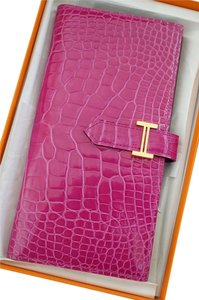 Hermès Hermes Shiny Rose Scheherazade Alligator Bearn Wallet Gold Hardware