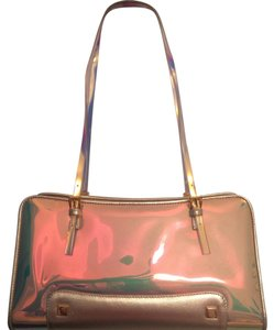 Stuart Weitzman Satchel in Iridescent and Champagne Gold