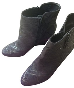 Fergie Black Snake Skin Wedges