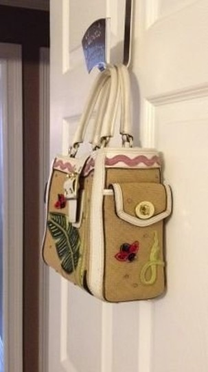 Coach Tote in floral w/ white leather trim