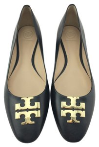 Tory Burch Raleigh Gold Leather Black Flats