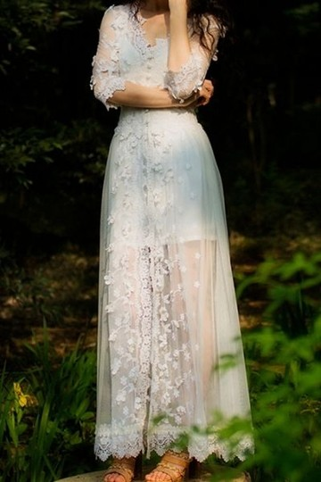 White lace boho style dress wedding dress 66 off for Bohemian style wedding dresses for sale