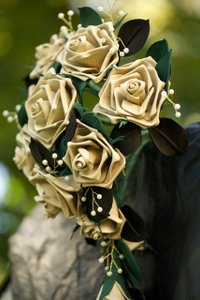 Cascading Leather Rose Bridal Bouquet
