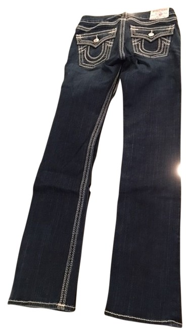Item - Blue Distressed Top Stitch Baby Bootcut Straight Leg Jeans Size 27 (4, S)