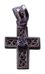 Antique 10k Yellow Gold Baby's Diamond Filigree Cross - Pendant ,late 1800s