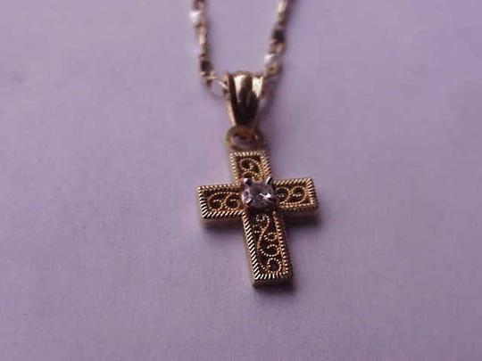 Other Antique 10k Yellow Gold Baby's Diamond Filigree Cross - Pendant ,late 1800s
