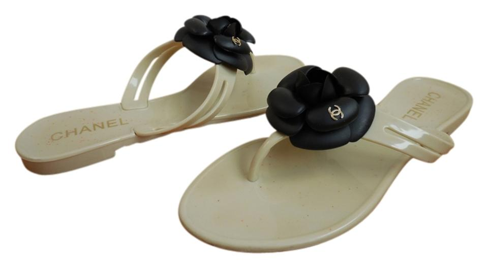 0941231b5 Chanel Beige Jelly Flip Flops with Black Camellia Flowers and Cc ...
