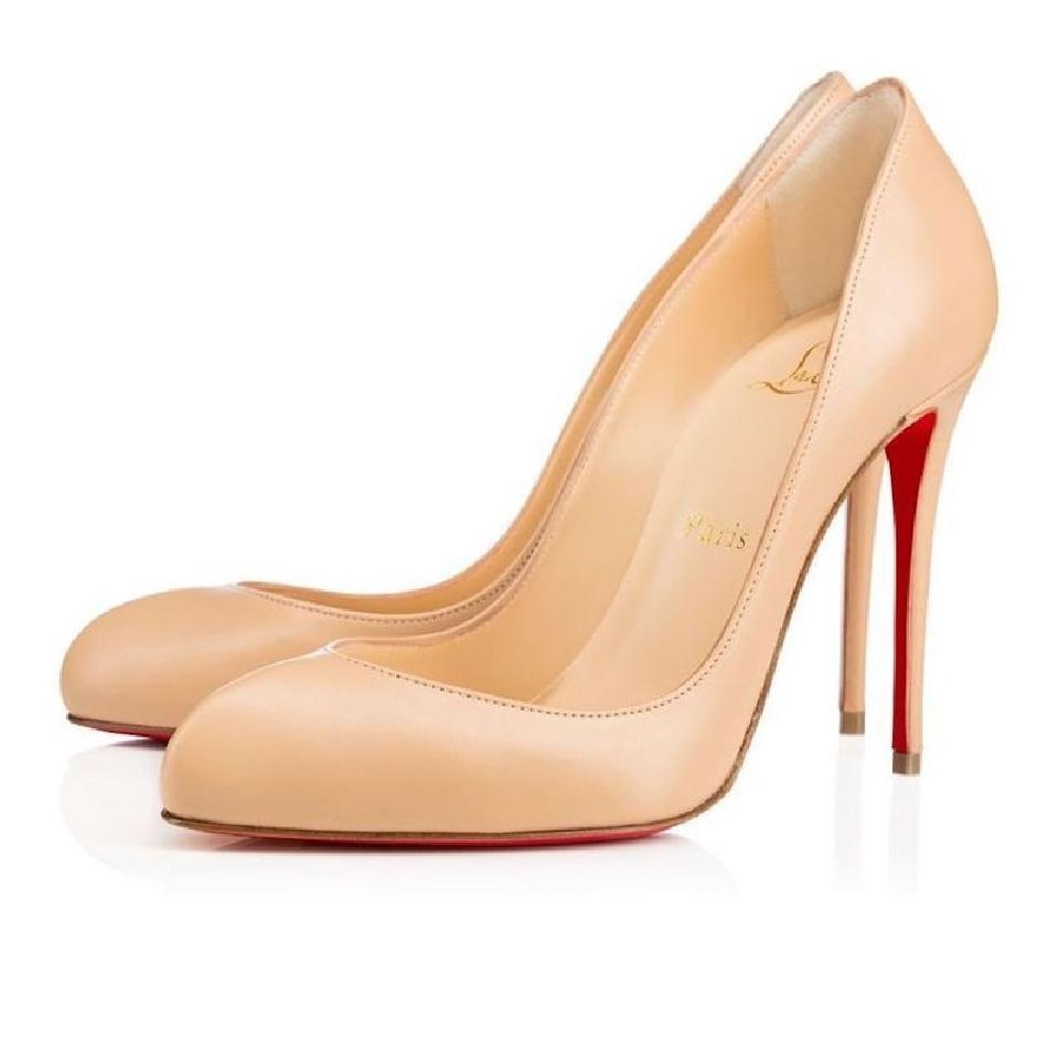 Christian 100mm Louboutin Nude Classic Breche 100mm Christian Nappa Shiny Leather Round-toe Pumps 3f914c