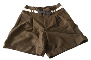 Anthropologie Belted Olive Khaki Dress Shorts
