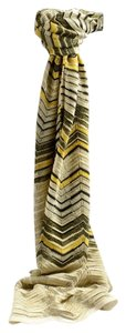 M Missoni Black, Silver and Yellow Chevron Embroidered Pattern Scarf **NEW**