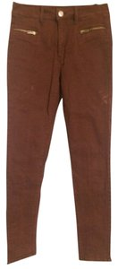American Eagle Outfitters Red Zip Skinny High Waist Skinny Pants Red/Maroon