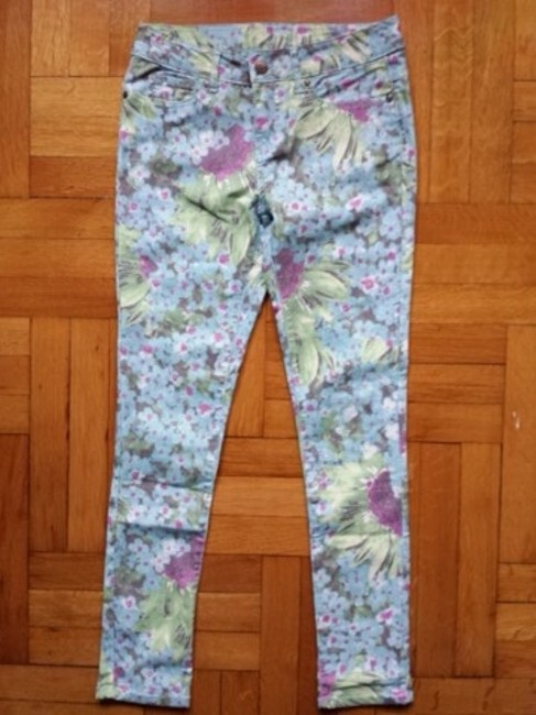 Faded Glory Floral Jeggings-Light Wash