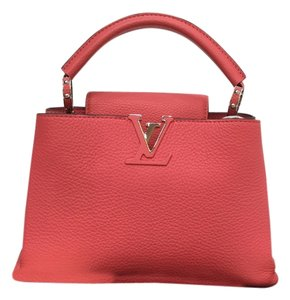 Louis Vuitton Lv Taurillon Leather Capucines Satchel in coral