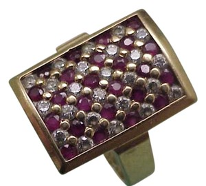 Amazing Estate Vintage 14k Yellow Gold .50carats Diamonds and Rubies Ring, 1950s