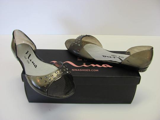 Nina Size 6.00 M Very Good Condition Clear Black Flats