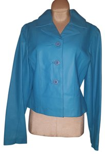 Wilson Leather Buttoned Front Teal Leather Jacket