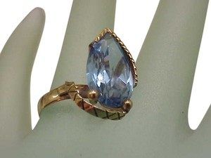 Amazing Estate Vintage 14k Yellow Gold Huge Natural Blue Topaz Ring, 1950s