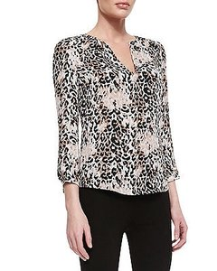 Joie Leopard Print Silk Long Top Multi-Color