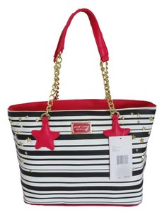 Betsey Johnson Star Studded Tote in black/white