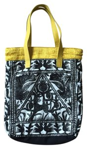 Anthropologie Boho Embossed Leather Straps Tote in Black & White