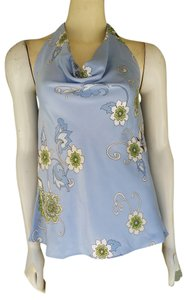 Ann Taylor Satin Floral Draped Neckline Blue Halter Top