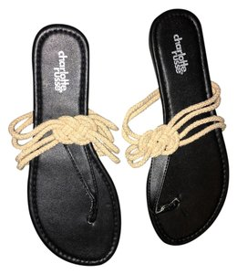 Charlotte Russe Nautical Flip Flop Knotted Black & Cream Sandals