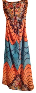 Coral, blue and navy Maxi Dress by Windsor