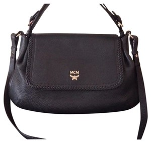 MCM Whipstitch Pebbled Crossbody Satchel in Navy