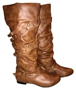 Charlotte Russe Studded Flat Brown Boots