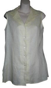 Laura Ashley Sleeveless Button Front Casual Top Yellow