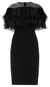 Max Mara Chiffon Ruffle Sheer Organza Silk Dress
