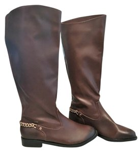 H&M Gold Hardware Distressed Brown Boots
