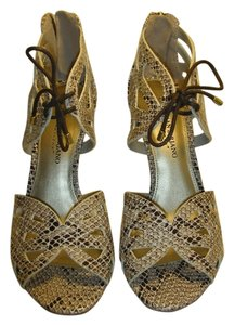 Christian Siriano Lace-up Reptile Sandal Cream Ivory Brown Sandals
