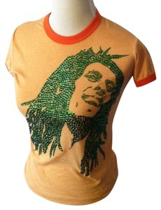 Other Party Crystal Boho Bold Bright T Shirt Orange & Emerald Green