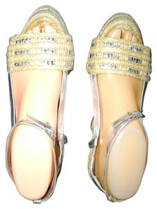 Kate Spade Threads Sequins Wedge Beige, Silver Sandals