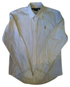 Ralph Lauren Button Down Shirt white with taupe stripes