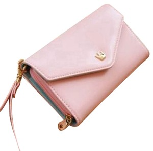 Pink Phone Case Holder and Wallet / clutch Purse with Gold Crown Snap Closure & crown charm zipper