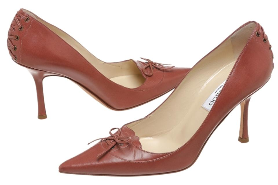 Jimmy Choo 38.5) Tan Dark Leather Pointed 38.5) Choo Pumps 3507ea