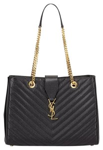 Saint Laurent Ysl Monogram Matalesse Tote in black
