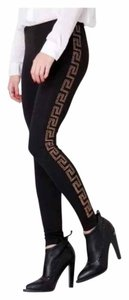 Versace for H&M Studded Silver Silk Greek Key Black & Gold Leggings