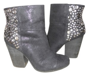 Cosmopolitan Studded Faux Leather Ankle black Boots