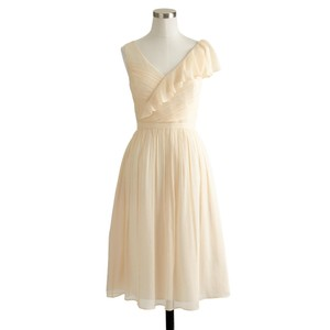 J.Crew Champagne Silk and Polyester Serena In Formal Bridesmaid/Mob Dress Size 10 (M)