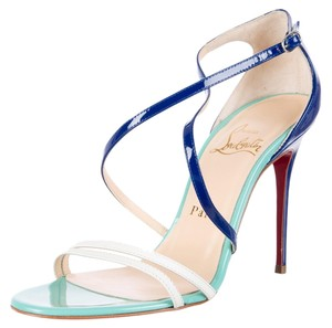 Christian Louboutin Patent Leather Strappy Blue, Multicolor Sandals