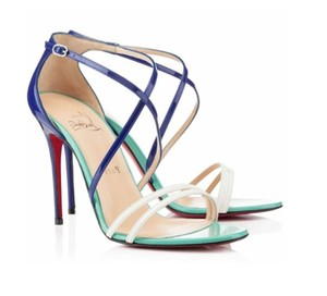Christian Louboutin Patent Leather Strappy Ankle Strap Gwynitta 100 Mm Multicolor Sandals