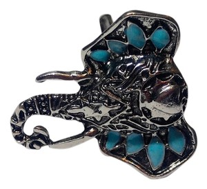 New Turquoise Silver Tone Elephant Statement Ring Adjustable Size J2436