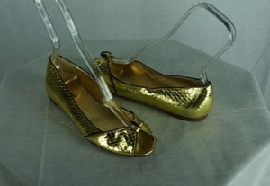 J.Crew Collection Snakeskin Peeptoe Metallic Sample Gold Flats