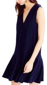J.Crew short dress Navy Cupro Flounce on Tradesy