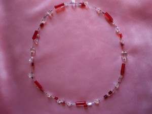 Other Ruby red & crystal beads choker